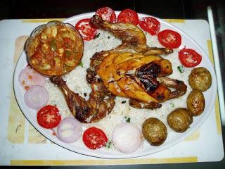 Roasted Chicken with mushroom-Capsicum Sauce