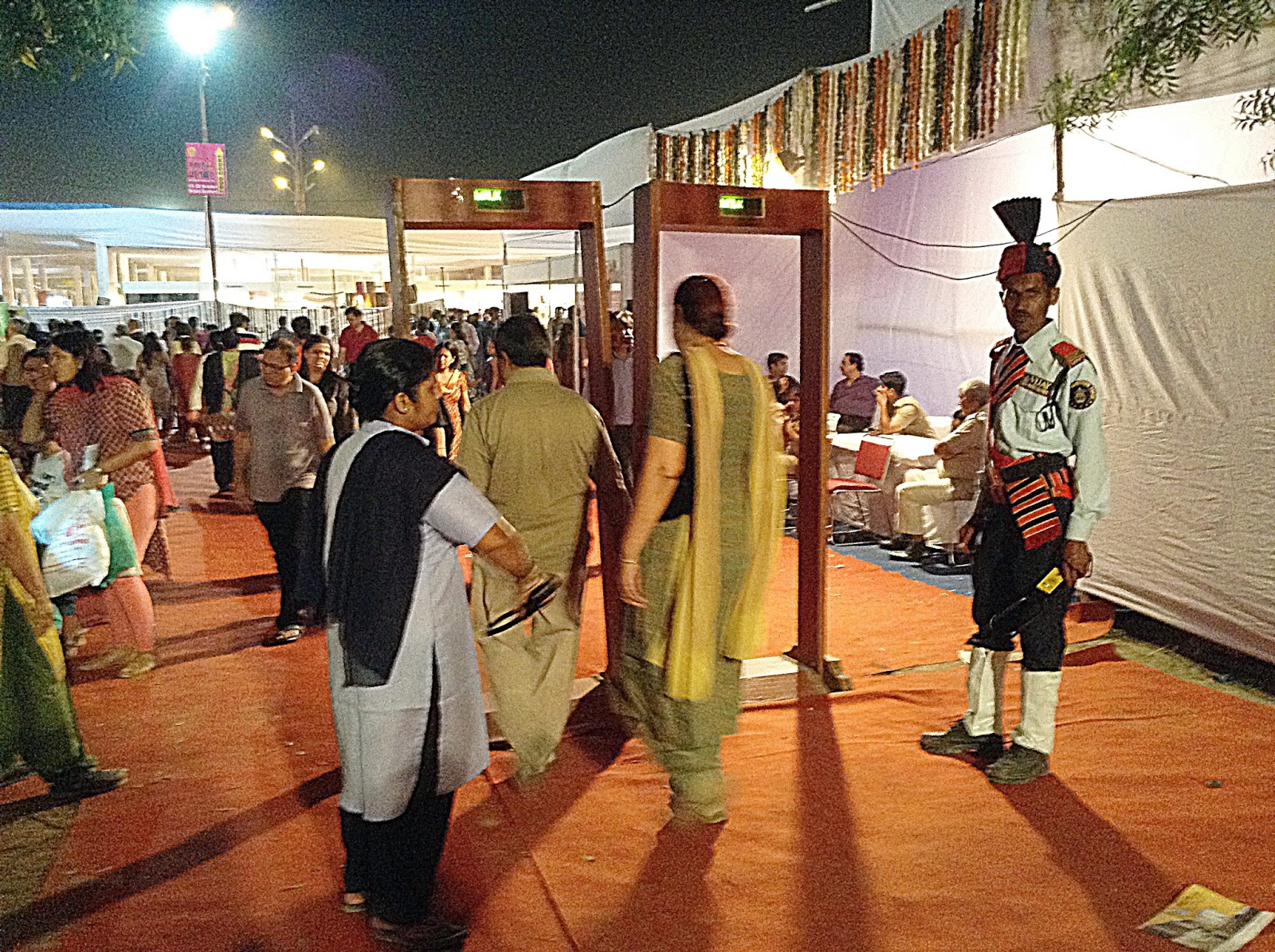 Security arrangements at the entrance for Deep Utsav, Noida