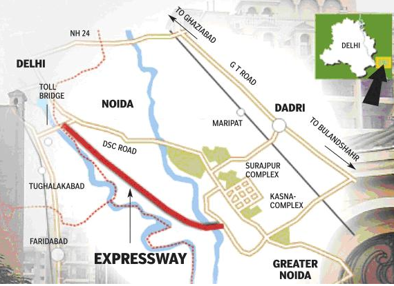 Location of Noida Expressway on the Map