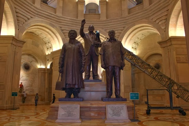 Statues of Dr Ambedkar, Mayawati and KanshiRam at Rashtriya Dalit Smarak