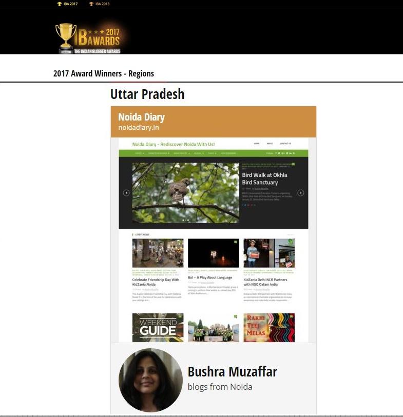 Noida Diary won IBA 2017 Award