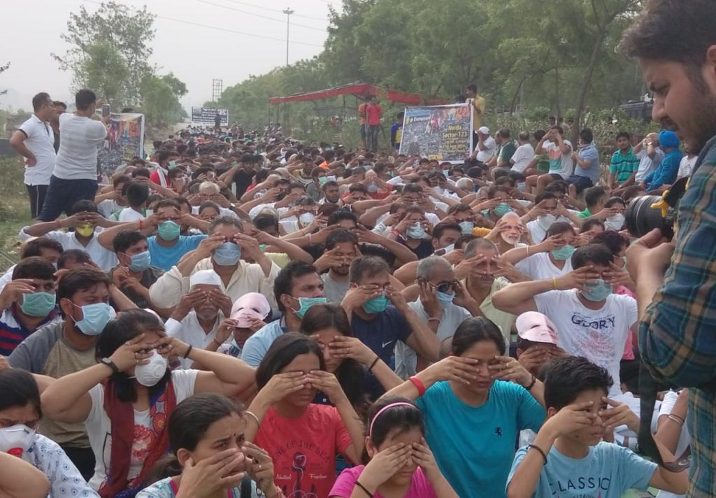 Residents Protest In Noida On International Yoga Day