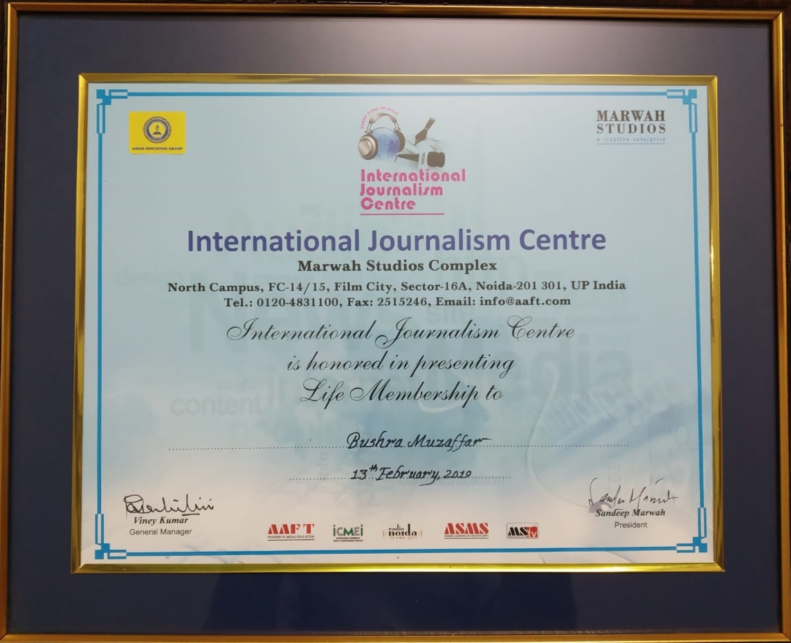HonoureAwarded Life Membership of International Journalism Centre at 7th Global Festival of Journalismd with Life Membership of International Journalism Centre at 7th Global Festival of Journalism